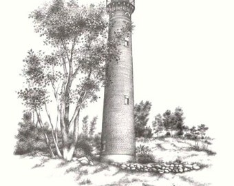Little Sable Point Light- Michigan Lighthouse- Vintage Inspired Lithograph Black and White Art Print