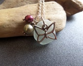 Butterfly Necklace with Scottish Sea Glass in White Pink Silver Gift from Scotland
