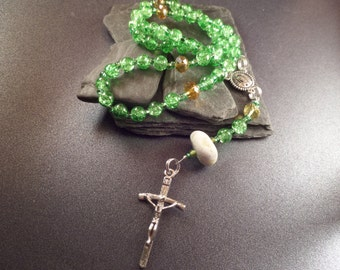 Green Scottish Rosary with Scottish Iona Marble, 59 Bead Catholic Rosary, Protection Charm, Crucifix, Confirmation Gift, Mother Mary Rosary