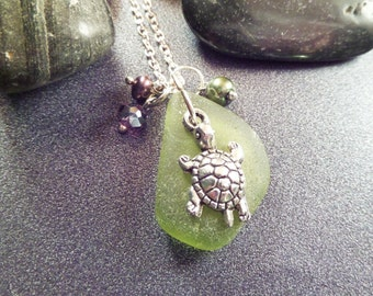 Turtle Necklace with Olive Green Scottish Sea Glass Beach Glass Gift from Scotland Silver Scottish Jewelry