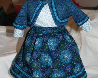 American Girl doll  18 in doll clothes Royal blue skirt jacket blouse bloomers vintage trim short skirt