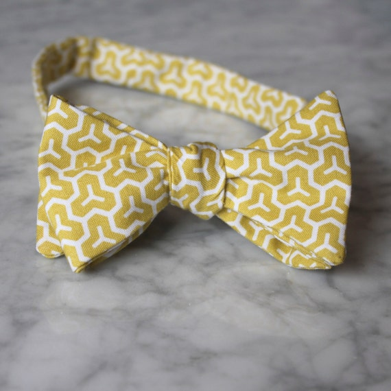 Mens Bow Tie in Yellow Honeycomb- Groomsmen and wedding tie - clip on, pre-tied with strap or self tying