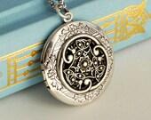 Irish Locket Necklace, silver scrollwork vintage style renaissance pendant photo jewelry Anniversary Birthday Mother's Day Gift