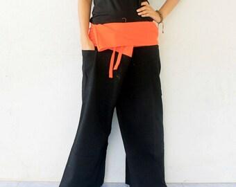 reserve orange  inside fold-over and black  and 1 pocket 2 tone Thai fisherman pants,size XL,yoga,unisex pants.