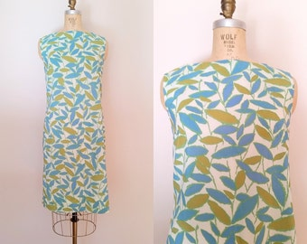 Leaves From The Vine Dress / Vintage 1960s Shift Dress / Green Brown Leaves / Medium
