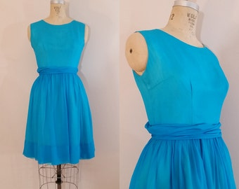 1960s Party Dress // Tides of Time Dress // Turquoise Silk Organza Party Dress // Small