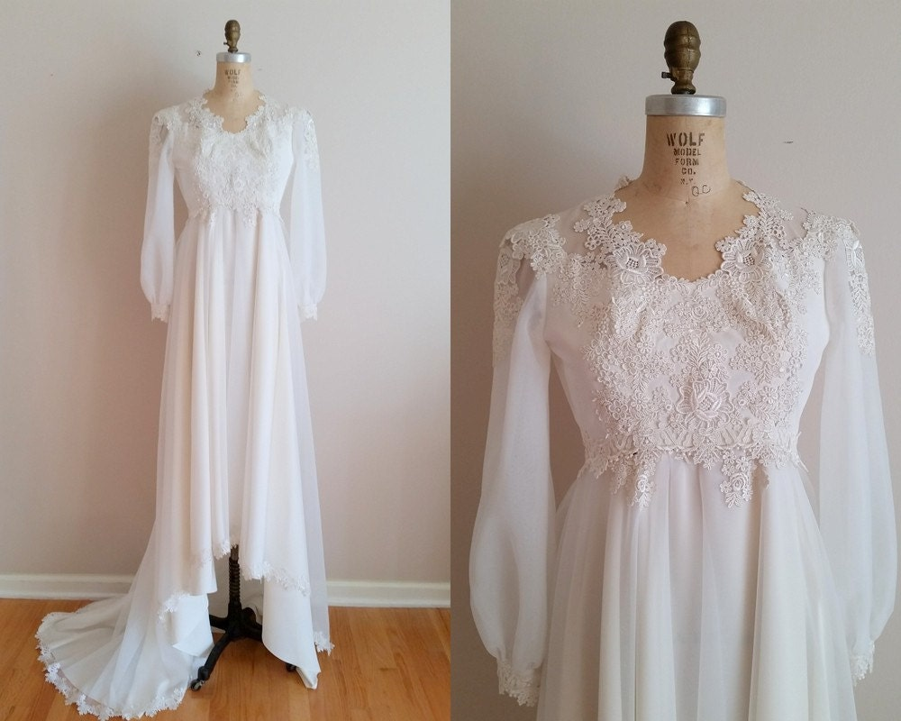 Vintage 1960s Wedding Dress 60s Wedding Gown Applique Lace