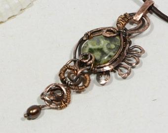 Rainforest Jasper Wire wrapped Pendant Wire Wrapped Handmade Jewelry Copper Wire Wrapped Jewelry