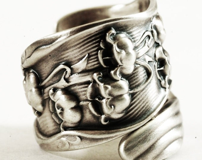 Large Spoon Ring, Lily of the Valley Ring, Floral Ring, Flower Ring Silver, Art Nouveau Ring, Botanical Jewelry, Adjustable Ring Size (6270)