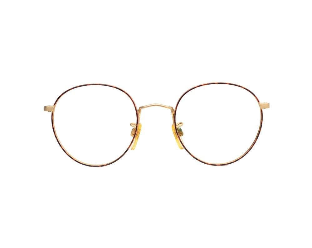 Vintage Giorgio Armani Round Frame Gold & Red Tortoise