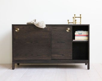 Berkeley Media Cabinet / Console - Brass Inset Pulls - Charcoal Stained Red Oak