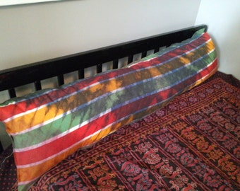 OOAK Skinny Psychedelic Candy Stripe Body Pillowcase, Maroon, Mustard, and Greens Tie Dye Rainbow