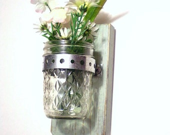 Wall Vase Wood Wall Hanger Shabby Chic / French Country-Moss Green / Bridal Gift / Wedding Gift / Toothbrush Holder