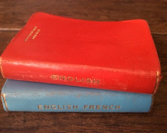 Vintage English Tiny Hide Bound Small English & English-French Dictionaries circa 1950-60's / English Shop