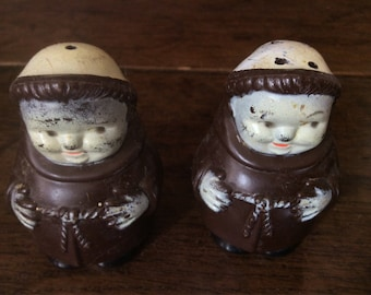 Vintage French Monk Monastry Salt and Pepper Shakers circa 1970-80's / English Shop