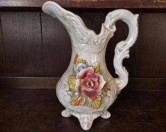 Vintage English Large 3D Rose Flower Water Pitcher Jug circa 1920's / English Shop