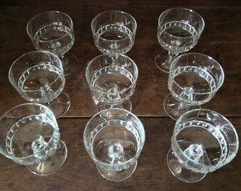 Vintage French Glass Fruit Dessert Ice Cream Coupe Serving Bowls Dishes Set of 9 circa 1960's / English Shop