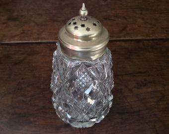 Vintage English Silver Plated Large Fancy Glass Salt Sugar Shaker circa 1920's / English Shop