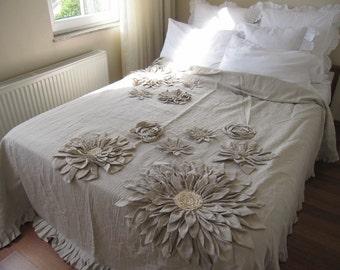 Mandala Inspired Lotus Dahlia bloom Flower Applique Bohemian country bedding- duvet cover -bedspread -queen-king- neutral Linen Nurdanceyiz