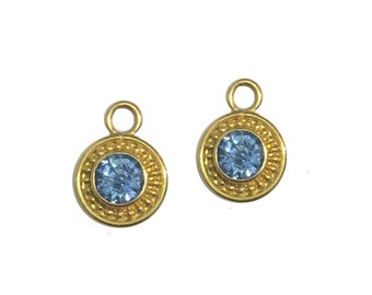 Blue Sapphire 22k Gold Granulated Drops for Hoops