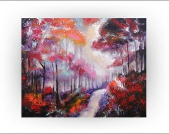 """Skye Taylor Tree Landscape Abstract Original Painting Forest Fall Autumn Woods """"Song of the trees"""", 30 x 24...ready to hang"""