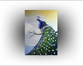 """ORIGINAL Modern Peacock Acrylic Painting on canvas Turquoise Bird-The Peacock- from Skye Taylor ready to hang 40"""" x 30"""" figurative Painting"""