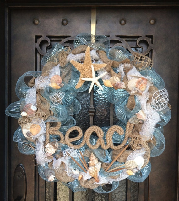 Do It Yourself Home Design: Items Similar To Beach Themed Deco Wreath On Etsy