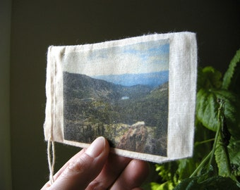 The Mountains Landscape - Original Image on Muslin Bag / Sierra Nevada Lakes, Rustic Wanderlust Imagery, Flat Nature Study Bookmark Wall Art