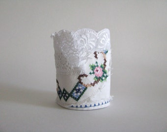 fabric wrist cuff - floral accents - cross stitch bracelet in white bue and green - feminine white bracelet - tattered cuff - gift for her