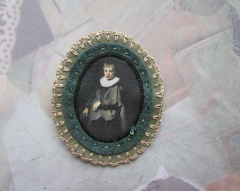Dutch boy portrait by Jacob Backer - dark teal and sage green felt - museum genre painting - Jacob Backer - gift for her - christmas gift