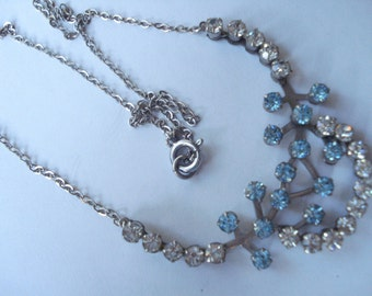 Vintage Necklace Aqua and Clear Rhinestones 1950's 1960's
