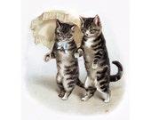 Cat Greeting Card - Cat Lovers Walk Under Umbrella Parasol - Anniversary Valentine
