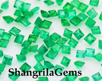 2mm 10 Emerald Square cut gemstones 0.50ct 10 gems from Colombia - AA quality