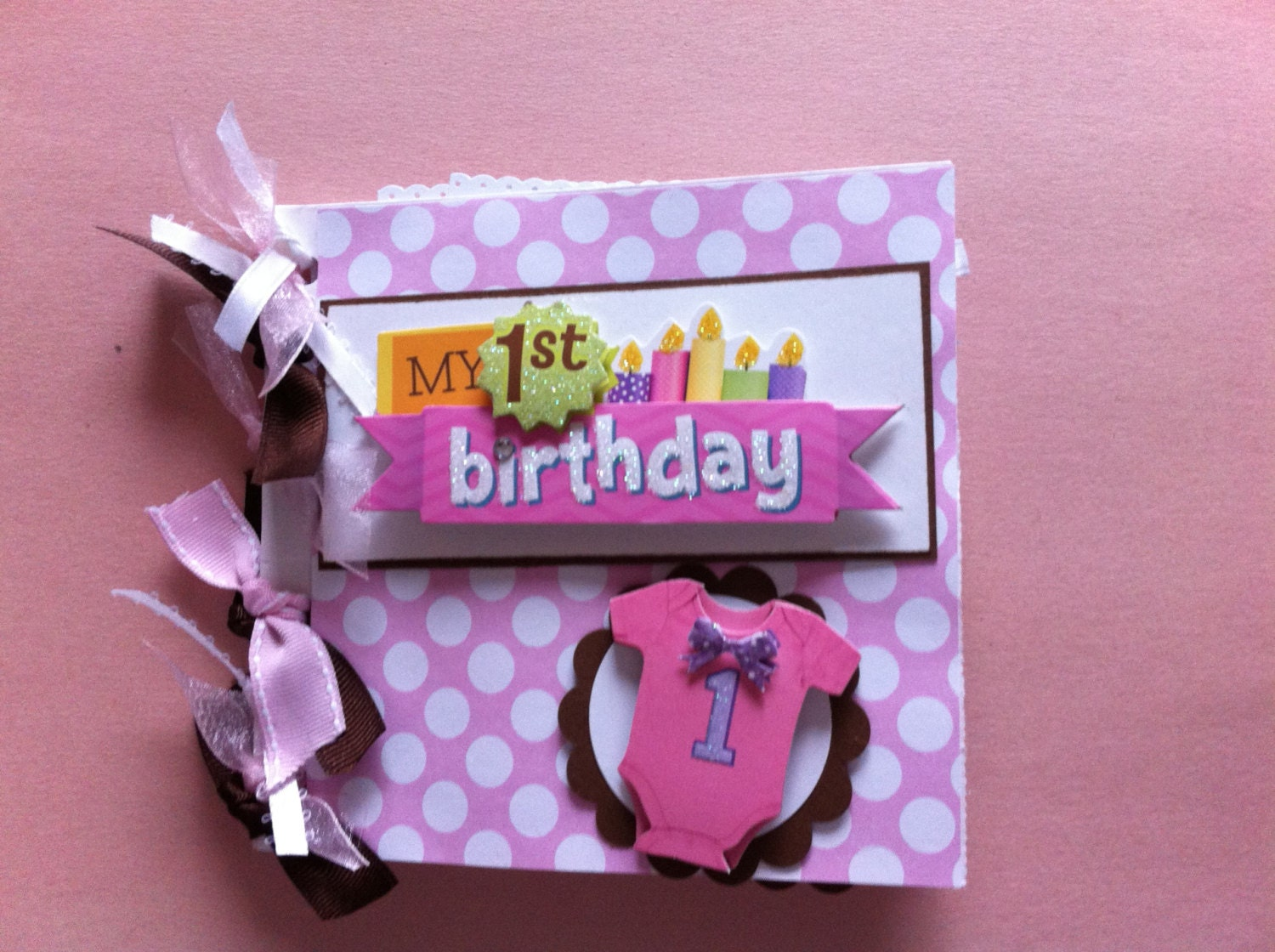 Scrapbook ideas for baby girl - Baby S First Birthday Scrapbook Album Baby Girl First Birthday Album First Birthday Gift