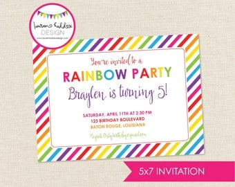 Rainbow Birthday Invitation, Rainbow Birthday, Rainbow Printables, Rainbow Birthday Decorations, Lauren Haddox Designs