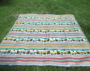Vintage Folk Art Woven Cotton Reversible Blanket Bedspread Coverlet / Ethnic Blanket / Wall Hanging