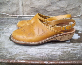 Tooled Leather Shoes With Cork Wedge Heels Size 8M Euro 38-39 UK 6