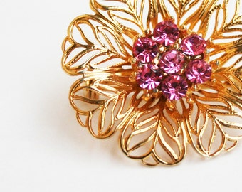 Vintage Pink Rhinestone Filigree Gold Tone Flower Brooch Pin