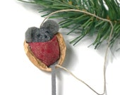 Mouse Ornament / Needle Felted Mice Snuggled in Walnut / Christmas Decoration / Made to Order