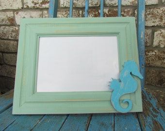 Coastal Picture Frame with Seahorse
