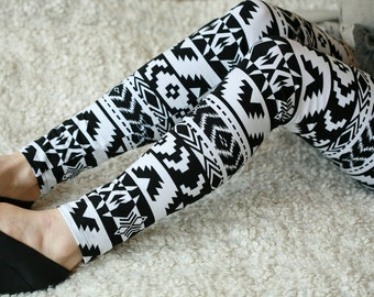 CLEARANCE SALE - Black and white tribal print leggings