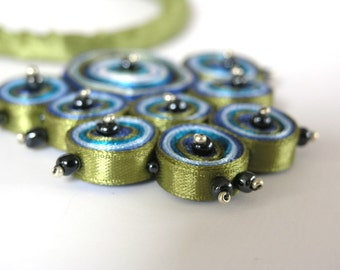 Textile necklace turquoise, fiber pendant green, fabric necklace - Textile jewelry OOAK ready to ship