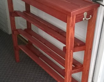 Shoe Rack and Table with stain, trim, and polyeurethane