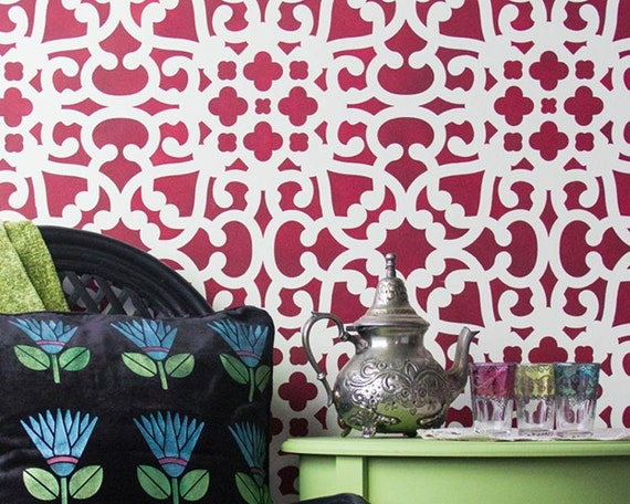 Modern Moroccan Lace Wall Stencils for Stenciling and Painting Large Accent Wall