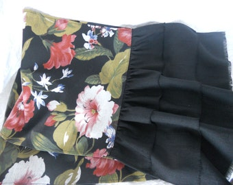 """72"""" Shabby Chic Black Floral Ruffled Table Runner - With or Without Ruffles - Ready to Ship"""