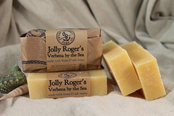 Verbena Sea Salt Soap, Jolly Roger's Verbena by the Sea, Free Shipping w/a item, Lemon Verbena & Sea Salt,  All Natural Soap, Handmade Soap