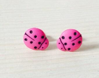 Small hot pink ladybug earrings
