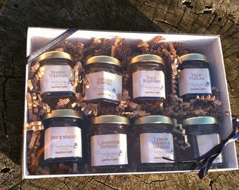 Honey Sampler Gift Package - 8 varieties of honey in a gift box