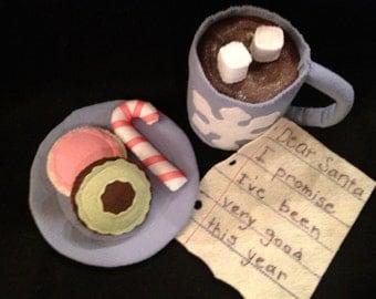 Kids Felt Milk and Cookies for Santa,felt food Playset