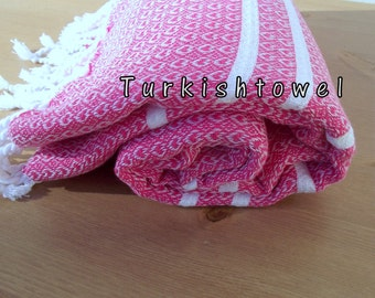 Turkishtowel-Hand woven,medium weight,very soft,heart pattern,Turkish Bath,Beach Towel-Weft is Fuchsia and White stripes